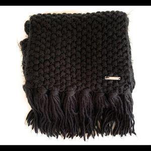 Michael Kors long black knit fringe ends scarf
